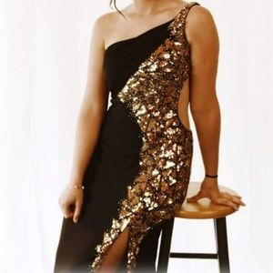 Black and gold sequin Mac Duggal prom dress